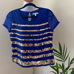 Jennifer Lopez Blue Gold Short Sleeve Top